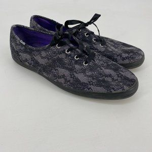 Keds | Size 10. Black and Gray Lace Print Sneaker